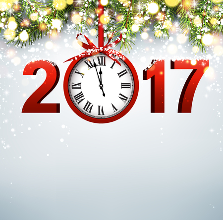 luminous: 2017 New Year luminous background with red clock. Vector illustration.
