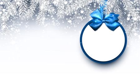Grau Weihnachten Hintergrund mit Tannenzweigen und blauem Bogen. Vektor-Illustration.