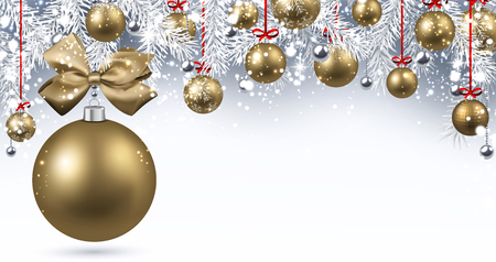 New Year banner with golden Christmas balls. Vector illustration.