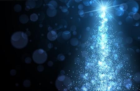luminous: Blue abstract Christmas blurred luminous background. Vector illustration. Illustration