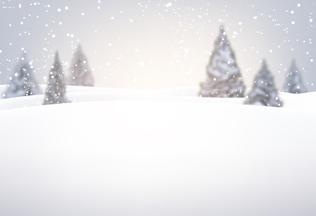 fir trees: Christmas background with fir trees and snow. Vector illustration. Illustration
