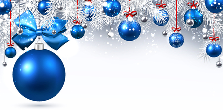 christmas blue: New Year banner with blue Christmas balls. Vector illustration.