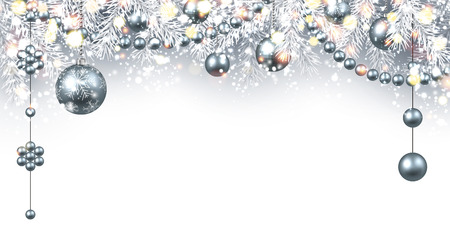 silver balls: New Year gray background with silver Christmas balls. Vector illustration.