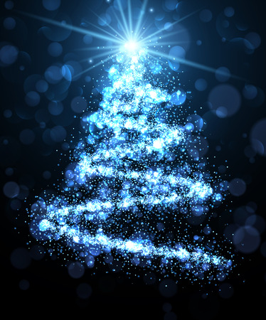 crankle: Blue background with shining abstract Christmas tree. Vector illustration.