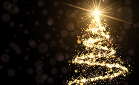 Golden background with shining abstract Christmas tree. Vector illustration.