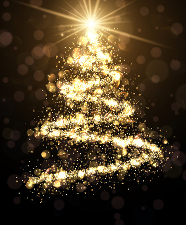 crankle: Golden background with shining abstract Christmas tree. Vector illustration.