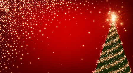 luminous: Red luminous background with green Christmas tree. Vector illustration.