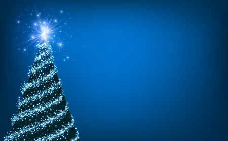 bright christmas tree: Blue luminous background with Christmas tree. Vector illustration.
