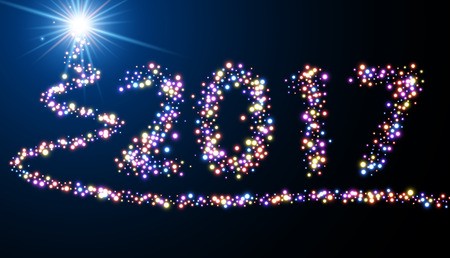 neon light: Blue 2017 New Year luminous background with firework. Vector illustration.