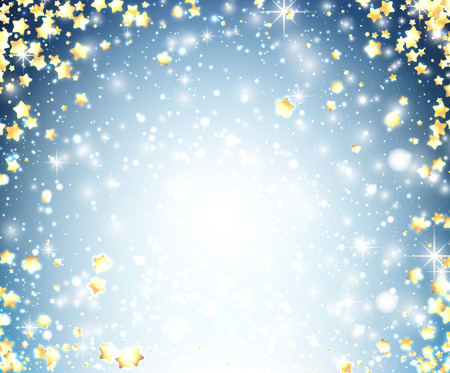 yellow star: Blue Christmas shining background with yellow stars. Vector illustration. Illustration