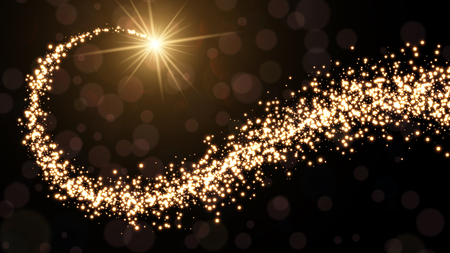 Abstract golden Christmas background with swirl of lights. Vector illustration.