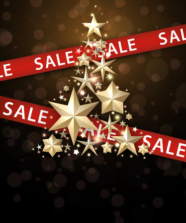 ad: Sale background with Christmas tree and ribbon. Vector illustration.