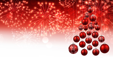 Red New Year background with Christmas balls and fireworks. Vector illustration.