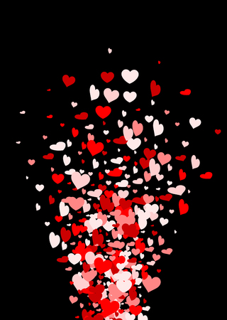 tender passion: Black Valentines love background with fountain of hearts. Vector illustration.
