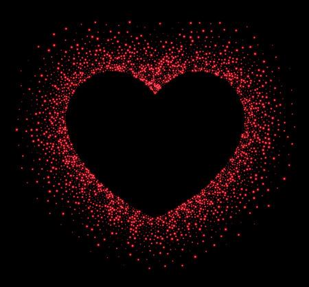 red black: Black Valentines love background with red heart. Vector illustration. Illustration