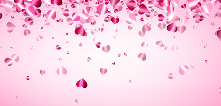 Love pink valentines background with hearts. Vector illustration.