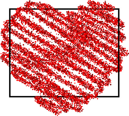 pictured: Valentines love background with red pictured heart. Vector illustration.