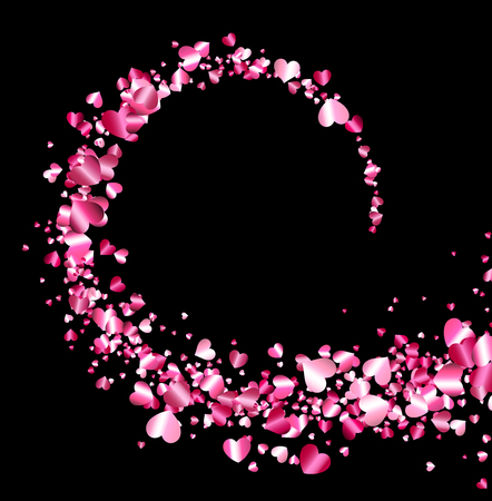 whirl: Black valentines background with whirl of pink hearts. Vector illustration.