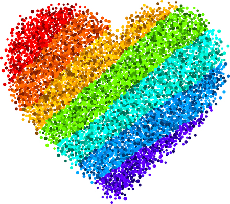Love valentines background with rainbow heart. Vector illustration.