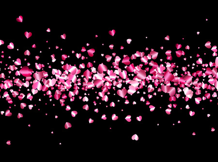 hearts background: Black love valentines background with pink hearts. Vector illustration.
