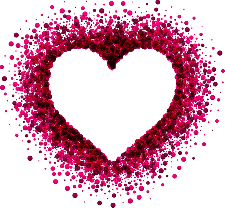 Valentine's love background with pink heart. Vector paper illustration.