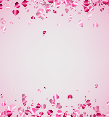 valentines background: White love valentines background with pink hearts. Vector illustration. Illustration