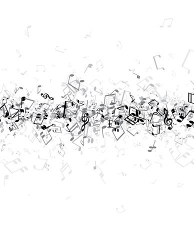 musica clasica: White musical background with gray notes. Vector paper illustration. Vectores