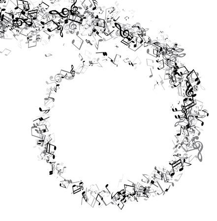 Sfondo musicale bianco con vortice di note grigie. Illustrazione di carta vettoriale.