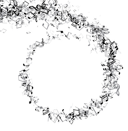 White musical background with whirl of gray notes. Vector paper illustration.