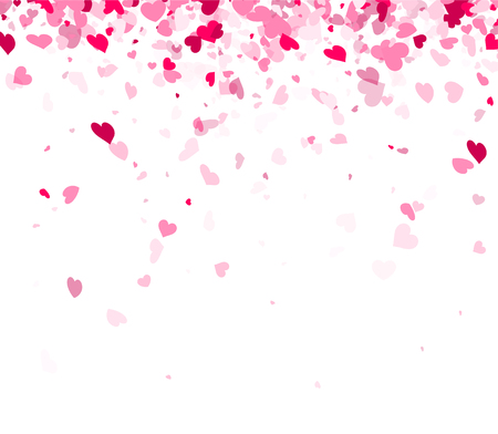 Love valentine's background with pink hearts. Vector illustration.