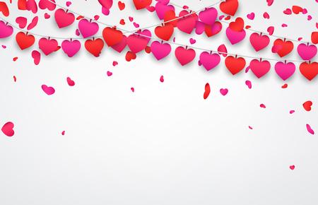valentines background: Love valentines background with garland of hearts. Vector illustration. Illustration
