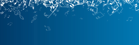 composer: Blue musical banner with white notes. Vector illustration.