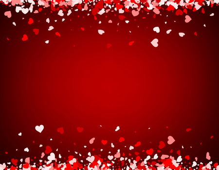 valentines background: Red love valentines background with hearts. Vector illustration.