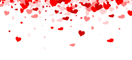 Love valentine's background with red and pink hearts. Vector illustration. Vettoriali