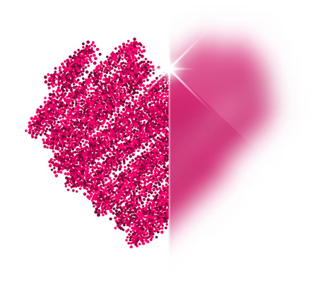 pictured: Valentines love background with pink heart. Vector illustration.