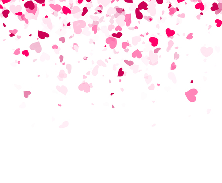 Love valentine's white background with pink hearts. Vector illustration. Vettoriali