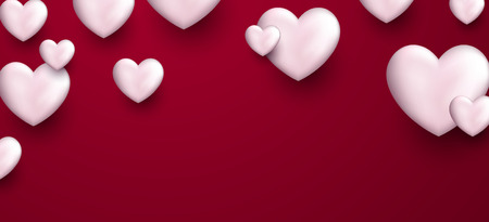 pink banner: Valentines pink love banner with white 3d hearts. Vector illustration.