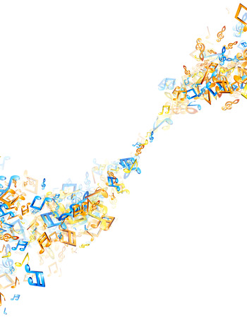 whirl: White musical background with whirl of colorful notes. Vector illustration.