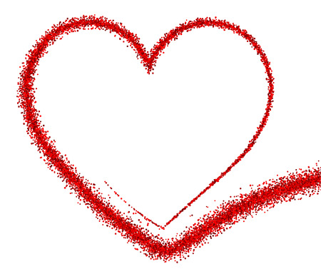 Valentines love background with red heart. Vector paper illustration.