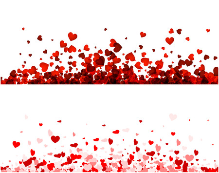 Love valentine's banners set with red and pink hearts. Vector illustration.