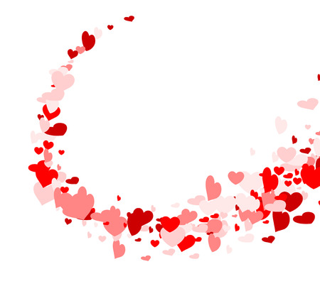 love declaration: Valentines love background with whirl of hearts. Vector paper illustration.