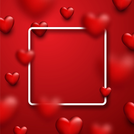 red happiness: Valentines square red love background with 3d hearts. Vector illustration.