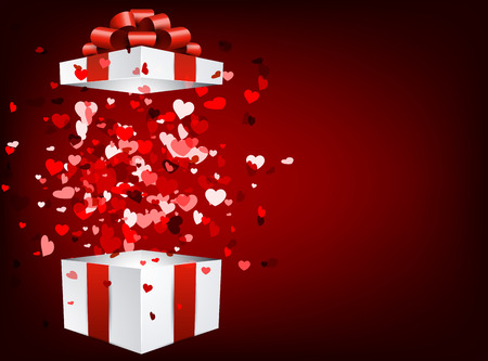 valentines background: Red love valentines background with 3d gift and hearts. Vector illustration. Illustration