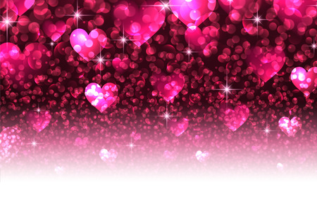 valentines background: Pink love luminous valentines background with hearts. Vector illustration.