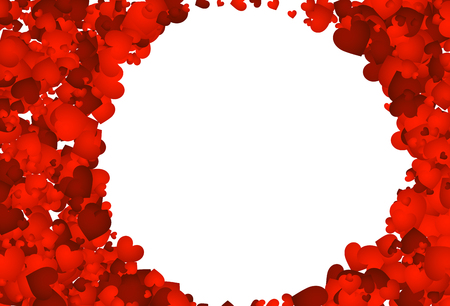 love hearts: Love valentines background with red hearts. Vector illustration. Illustration