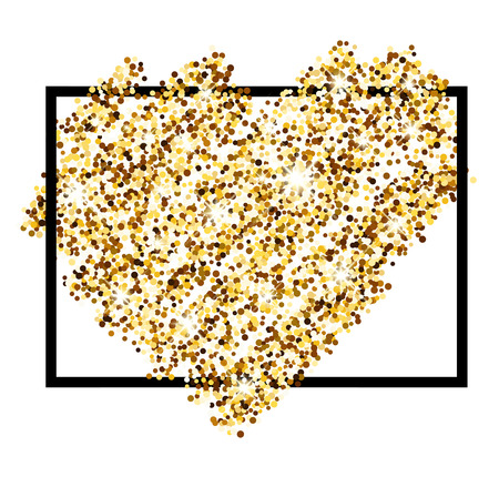 sandy: Valentines love background with golden sandy heart. Vector illustration.