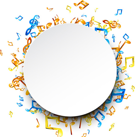 note: White round musical background with colorful notes. Vector illustration.