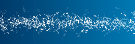 music background: Blue musical banner with white notes. Vector illustration.