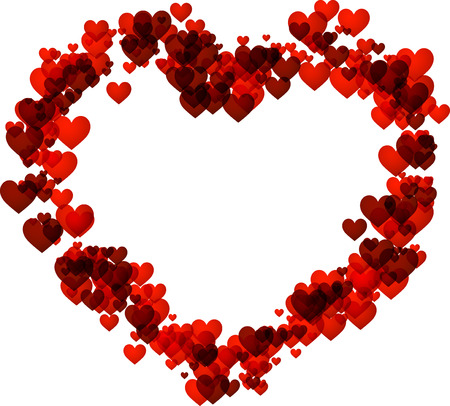 Valentinstag Liebe Hintergrund mit roten Herzen. Vektor-Papier-Illustration.