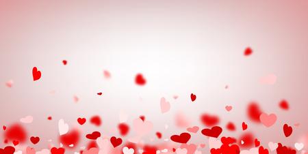 matrimonio feliz: Fondo de amor de San Valentín con corazones rojos y rosados. Ilustración del vector.